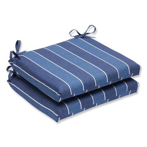 Pillow Perfect Wickenburg Indigo Squared Corners Outdoor Seat Cushion, Set of 2