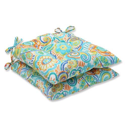 Pillow Perfect Bronwood Caribbean Wrought Iron Outdoor Seat Cushion, Set of 2