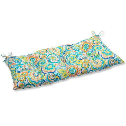 Pillow Perfect Bronwood Caribbean Wrought Iron Outdoor Loveseat Cushion