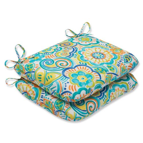 Bronwood Caribbean Rounded Corners Outdoor Seat Cushion, Set of 2