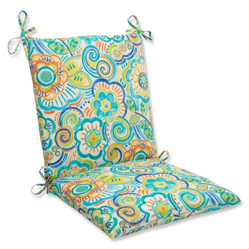 Pillow Perfect Bronwood Caribbean Squared Corners Outdoor Chair Cushion Cushion