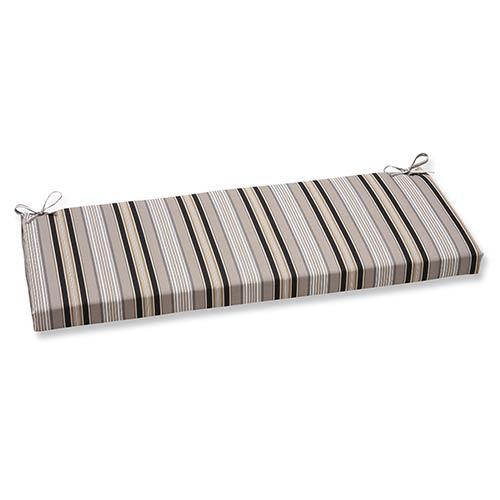 Getaway Stripe Black Outdoor Bench Cushion