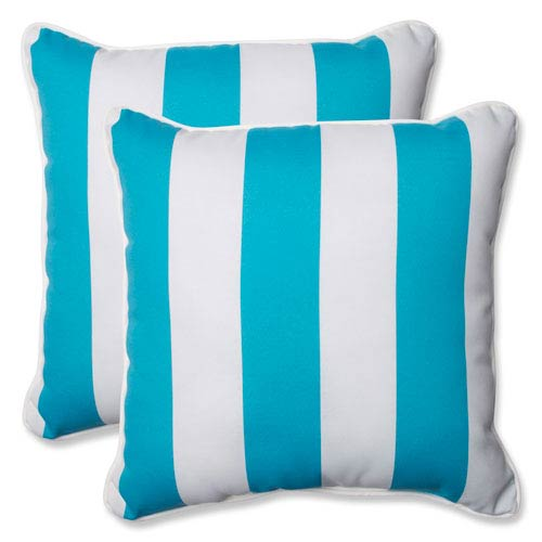 Pillow Perfect Cabana Stripe Turquoise 18.5-inch Outdoor Throw Pillow, Set of 2