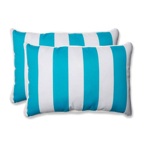 Cabana Stripe Turquoise Over-sized Rectangular Outdoor Throw Pillow, Set of 2