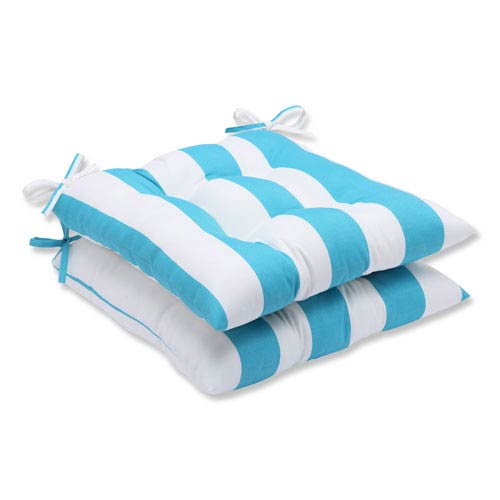 Pillow Perfect Cabana Stripe Turquoise Wrought Iron Outdoor Seat Cushion, Set of 2