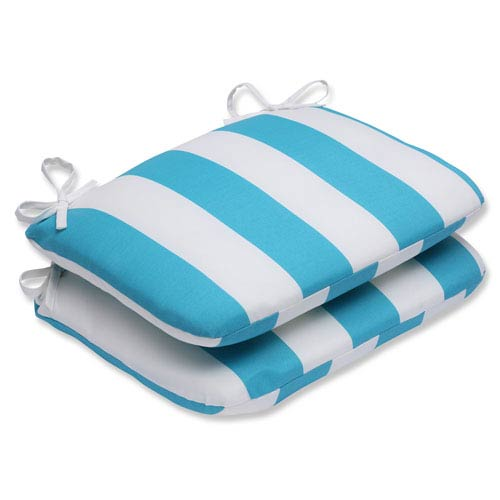 Pillow Perfect Cabana Stripe Turquoise Rounded Corners Outdoor Seat Cushion, Set of 2