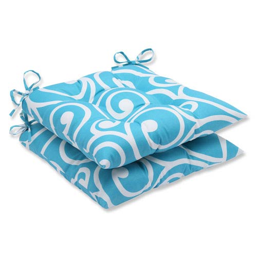 Pillow Perfect Best Turquoise Wrought Iron Outdoor Seat Cushion, Set of 2
