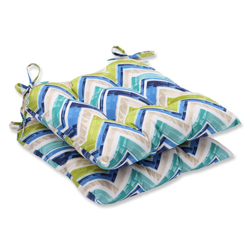 Pillow Perfect Marquesa Marine Wrought Iron Outdoor Seat Cushion, Set of 2