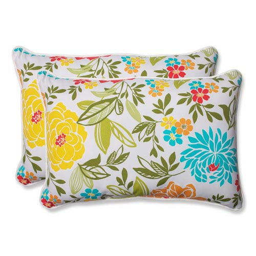 Pillow Perfect Spring Bling Multicolor Over-sized Rectangular Outdoor Throw Pillow, Set of 2