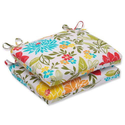 Pillow Perfect Spring Bling Multicolor Squared Corners Outdoor Seat Cushion, Set of 2
