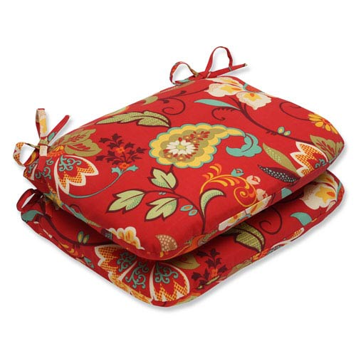 Pillow Perfect Tamariu Alfresco Valencia Rounded Corners Outdoor Seat Cushion, Set of 2
