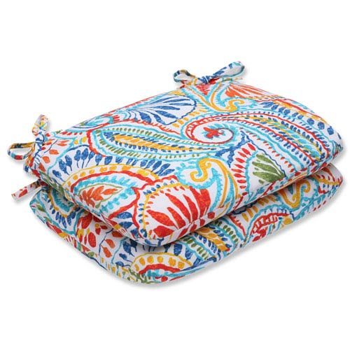 Ummi Multicolor Rounded Corners Outdoor Seat Cushion, Set of 2