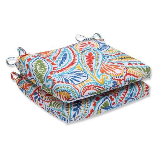 Ummi Multicolor Squared Corners Outdoor Seat Cushion, Set of 2