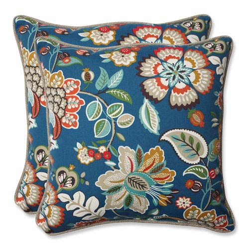 Pillow Perfect Telfair Peacock 18.5-inch Outdoor Throw Pillow, Set of 2