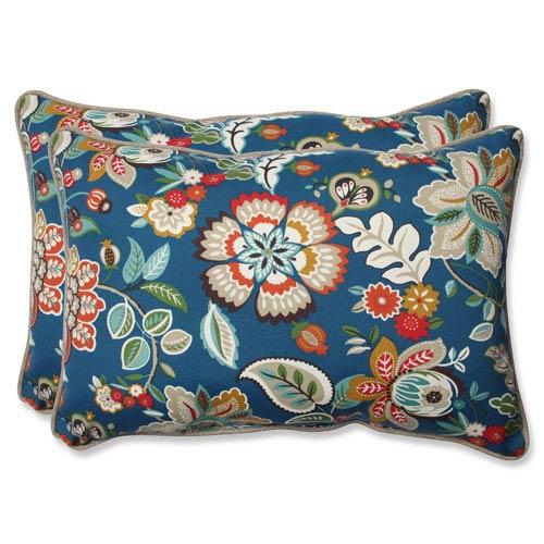 Telfair Peacock Over-sized Rectangular Outdoor Throw Pillow, Set of 2