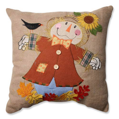 Tan Harvest Scarecrow 16.5-Inch Throw Pillow