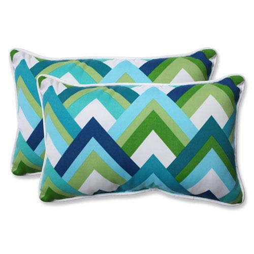 Resort Peacock Rectangular Outdoor Throw Pillow, Set of 2