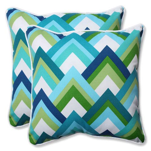 Resort Peacock 18.5-inch Outdoor Throw Pillow, Set of 2