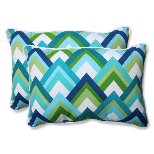Resort Peacock Over-sized Rectangular Outdoor Throw Pillow, Set of 2