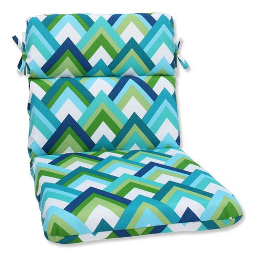 Resort Peacock Rounded Corners Outdoor Chair Cushion