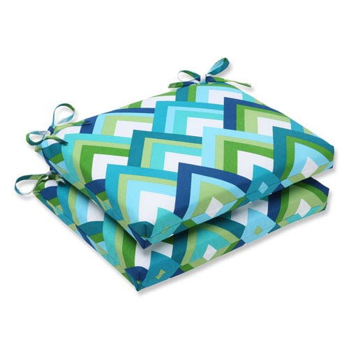 Resort Peacock Squared Corners Outdoor Seat Cushion, Set of 2