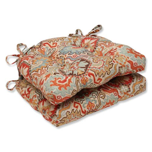 Madrid Multicolor Reversible Chair Pad, Set of 2