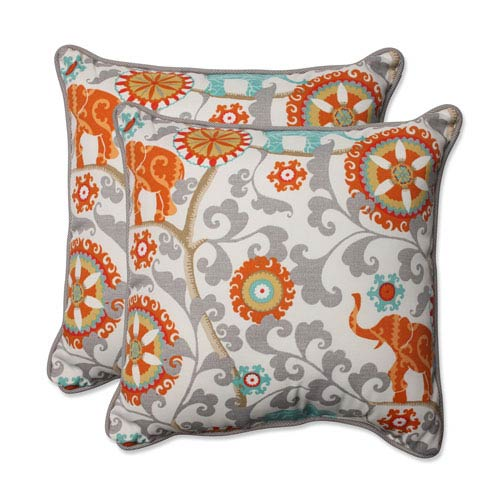 Outdoor Menagerie Cayenne 18.5-inch Throw Pillow, Set of 2
