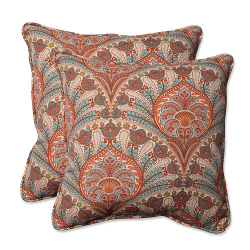 Outdoor Crescent Beach Coral 18.5-inch Throw Pillow, Set of 2