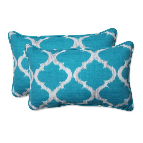 Outdoor Kobette Teal Rectangular Throw Pillow, Set of 2