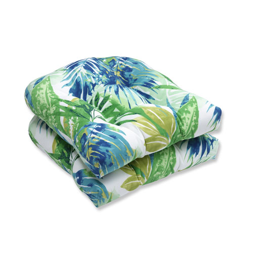 Outdoor Soleil Blue/Green Wicker Seat Cushion, Set of 2