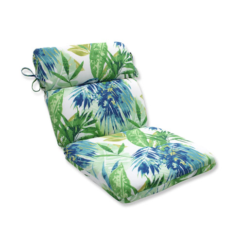 Outdoor Soleil Blue/Green Rounded Corners Chair Cushion
