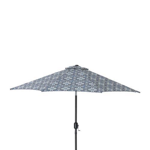 Pillow Perfect Outdoor Indoor Woodblock Prism Blue 9 Foot Patio Market Umbrella