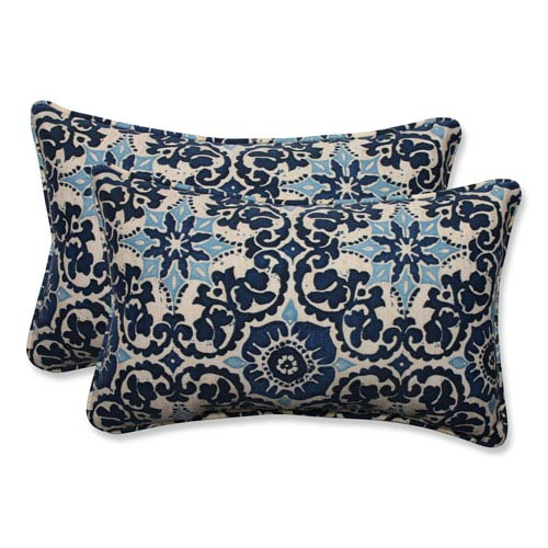 Outdoor Woodblock Prism Blue Rectangular Throw Pillow, Set of 2