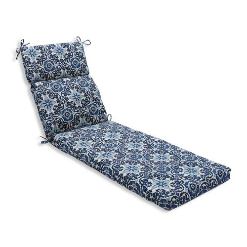 Outdoor Woodblock Prism Blue Chaise Lounge Cushion