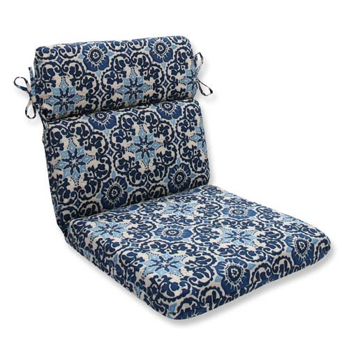 Outdoor Woodblock Prism Blue Rounded Corners Chair Cushion
