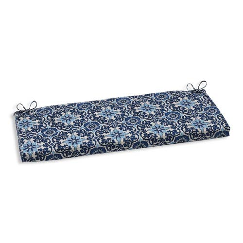 Outdoor Woodblock Prism Blue Bench Cushion