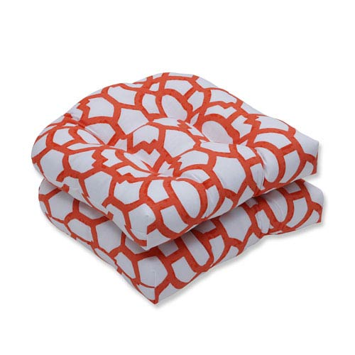 Pillow Perfect Outdoor Nunu Geo Mango Wicker Seat Cushion, Set of 2