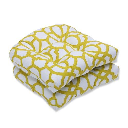 Pillow Perfect Outdoor Nunu Geo Wasabi Wicker Seat Cushion, Set of 2