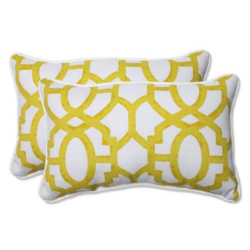 Outdoor Nunu Geo Wasabi Rectangular Throw Pillow, Set of 2