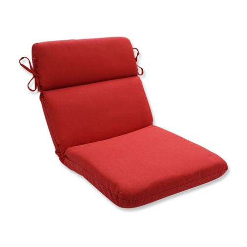 Outdoor Tweed Red Rounded Corners Chair Cushion