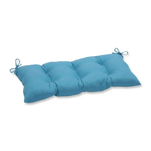 Outdoor Tweed Aqua Wrought Iron Loveseat Cushion