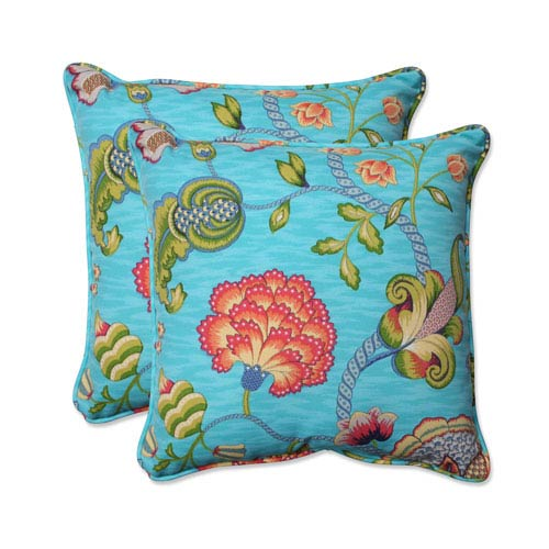 Pillow Perfect Outdoor Arabella Caribbean Blue 18 5 Inch Throw Set Of 2