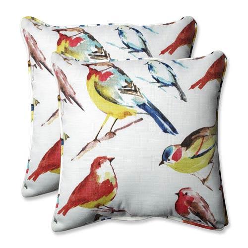 Outdoor / Indoor Bird Watchers Summer 18.5-Inch Throw Pillow (Set of 2)