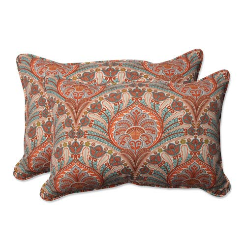 Outdoor Crescent Beach Coral Over-sized Rectangular Throw Pillow, Set of 2