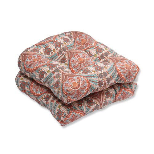 Outdoor Crescent Beach Coral Wicker Seat Cushion, Set of 2