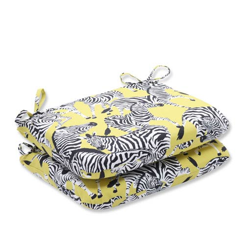 Outdoor Herd Together Wasabi Rounded Corners Seat Cushion, Set of 2