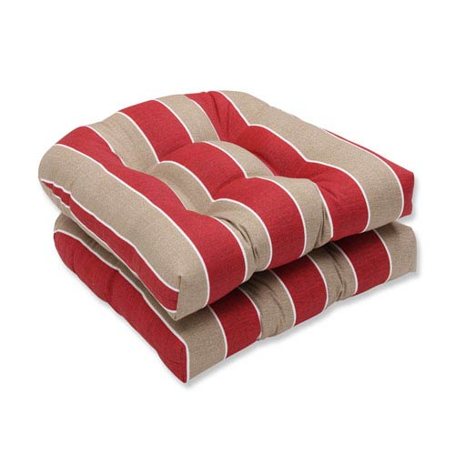 Outdoor Wickenburg Cherry Wicker Seat Cushion, Set of 2