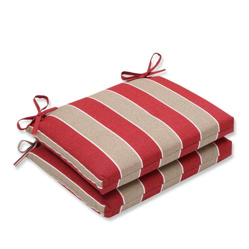 Outdoor Wickenburg Cherry Squared Corners Seat Cushion, Set of 2