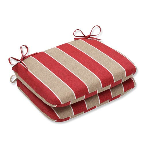 Outdoor Wickenburg Cherry Rounded Corners Seat Cushion, Set of 2