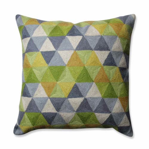 Triangle Grid Green-Grey 16.5-Inch Throw Pillow